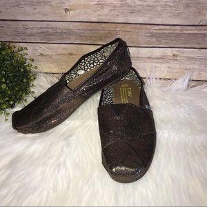Toms Brown Sparkle Slip On Shoes